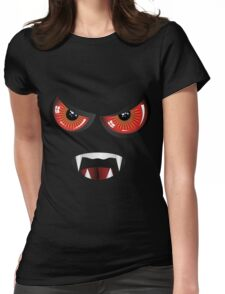 Evil face with red eyes Womens Fitted T-Shirt