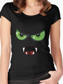 Evil face with green eyes Women's Fitted Scoop T-Shirt