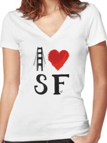 I Heart San Francisco (remix) by Tai's Tees Women's Fitted V-Neck T-Shirt