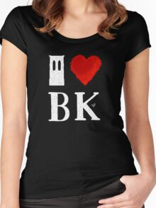 I Heart Brooklyn (remix, white) by Tai's Tees Women's Fitted Scoop T-Shirt
