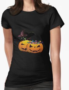 Halloween card with pumpkins and cat Womens Fitted T-Shirt