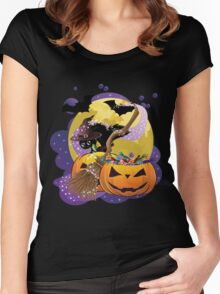 Halloween card with pumpkins and cat 2 Women's Fitted Scoop T-Shirt