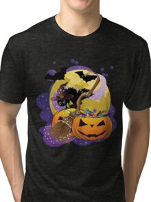 Halloween card with pumpkins and cat 2 Tri-blend T-Shirt