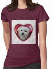 Hermes the Maltese - Valentine Boy ! Womens Fitted T-Shirt