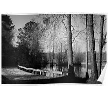 Wooden Bridge over pond Poster