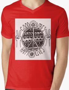 Good Vibes Happy Lives Mens V-Neck T-Shirt