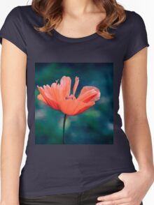 Lonely poppy Women's Fitted Scoop T-Shirt