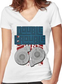 Double Trouble Women's Fitted V-Neck T-Shirt