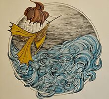 The Ship and The Swirling Sea by littlefable