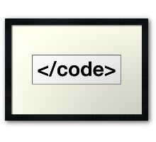 Code tag Framed Print