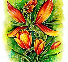 Tulip Fairy Dragon Watercolor  by TrollWorks