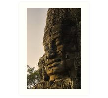 A Giant stone face in bayon Temple - Cambodia Art Print