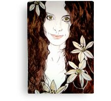 Hippy Chick - Etching Canvas Print