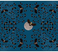 Owls Flying in the Midnight Sky by FUNCTIONALFOX