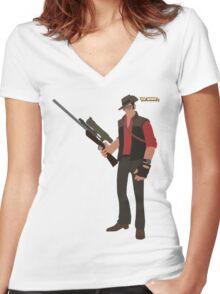 Team Fortress 2 | Minimalist Sniper Women's Fitted V-Neck T-Shirt