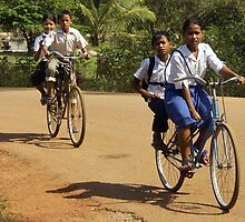 Childs on Bicycles - Cambodia by chrisfx