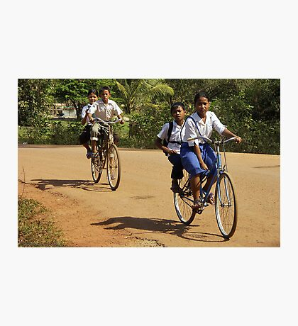 Childs on Bicycles - Cambodia Photographic Print