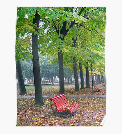 Red Bench Poster