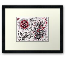 black and gray and red Framed Print