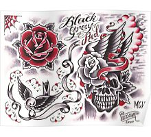 black and gray and red Poster