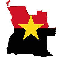 MPLA Flag Map of Angola Photographic Print