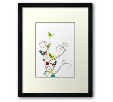 Colorful Whimsical Summer Birds and Swirls Framed Print