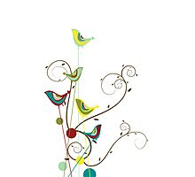 Colorful Whimsical Summer Birds and Swirls Photographic Print