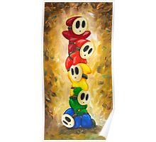 Rainbow of Shy Guys! Super Mario Bros Fan Art Poster