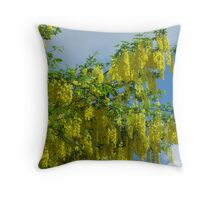 Yellow Flowering Tree Throw Pillow