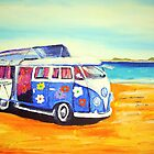 'Flower Power 60's Kombi' at the beach by gillsart