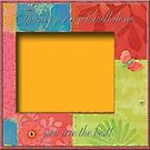 Frame to Sign with Flowers and Butterfly in Orange, Yellow, and Green by toots