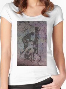 Blue Ladys Figurative Expressions Women's Fitted Scoop T-Shirt