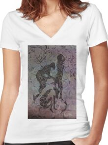 Blue Ladys Figurative Expressions Women's Fitted V-Neck T-Shirt