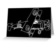 a biplane drawn by a kid Greeting Card