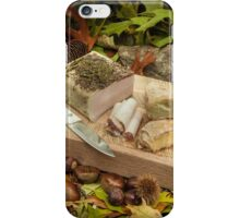 Autumnal still life composition with lard and bread iPhone Case/Skin
