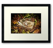 Autumnal still life composition with lard and bread Framed Print