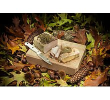 Autumnal still life composition with lard and bread Photographic Print