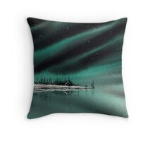 Northern Light Lake Cabin Throw Pillow