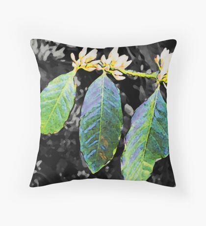 Coffee Flowers & Leaves Throw Pillow
