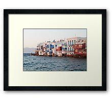 romance in little venice, mykonos, greece Framed Print