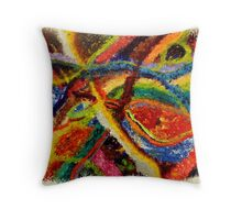 Abstract Art Acrylic Painting Original Canvas Art Titled: Wild Colors Throw Pillow