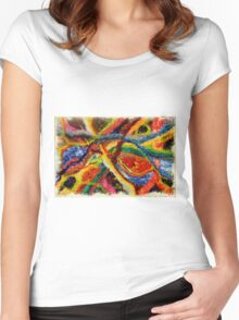 Abstract Art Acrylic Painting Original Canvas Art Titled: Wild Colors Women's Fitted Scoop T-Shirt