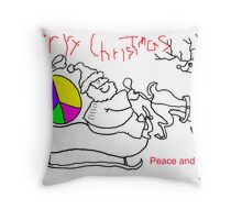 Merry Chistmas & Peace and Love - C.Card Throw Pillow