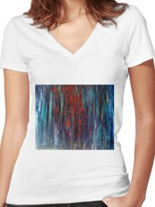 Abstract Painting Modern Original Art Acrylic Titled: Wonderall Women's Fitted V-Neck T-Shirt