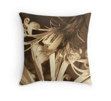Flowering curls-Sepia Throw Pillow