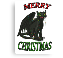 Toothless - Merry Christmas Canvas Print