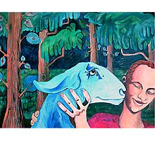 Girl and Goat Photographic Print