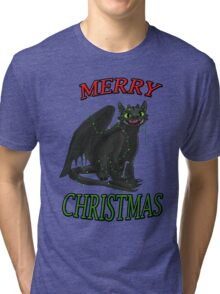 Toothless - Merry Christmas Tri-blend T-Shirt