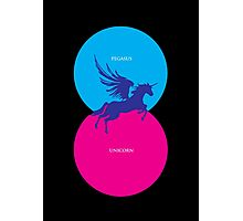 Pegacorn Venn Diagram (Pegasus + Unicorn) Photographic Print