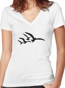 Flying seagulls Women's Fitted V-Neck T-Shirt
